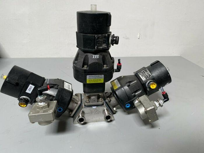 Used 3 ITT Pure-Flo A108 Stainless Steel Diaphragm Valves w/ Position Monitor