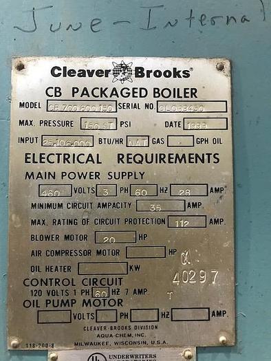 1999 Cleaver Brooks CB700-600-150  CB700-600-150