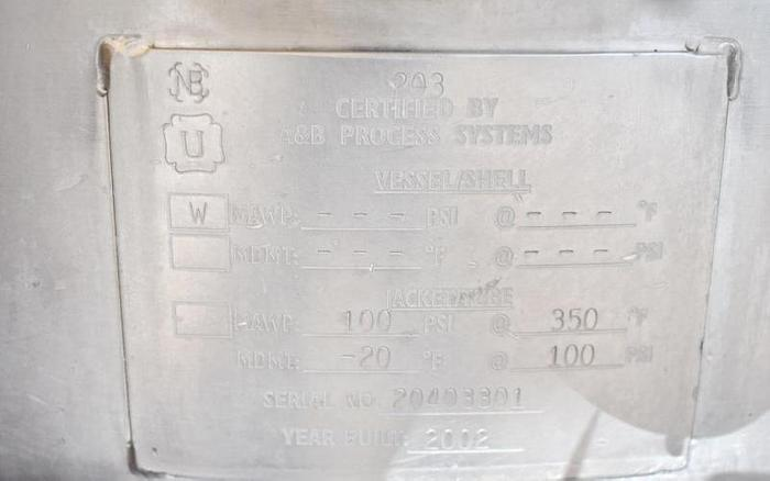 USED 200 GALLON JACKETED TANK (KETTLE), STAINLESS STEEL, WITH SCRAPE AGITATION & MIXER