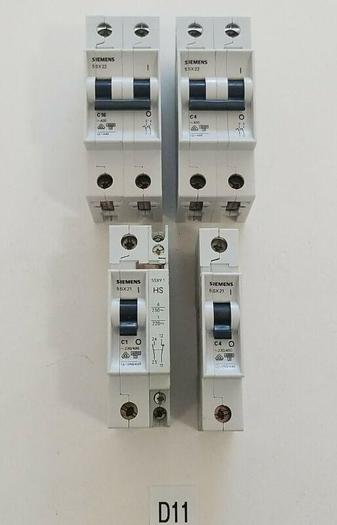 Used *PREOWNED* Siemens Circuit Breakers (2) 5SX22 480V + (2) 5SX21 ONE w/  5SX91 Aux