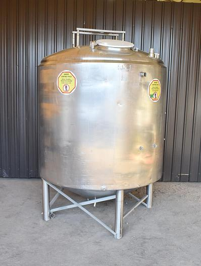 Used USED 1000 GALLON JACKETED TANK, 304 STAINLESS STEEL