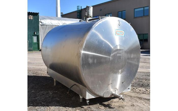 USED 600 GALLON JACKETED TANK, STAINLESS STEEL, HORIZONTAL