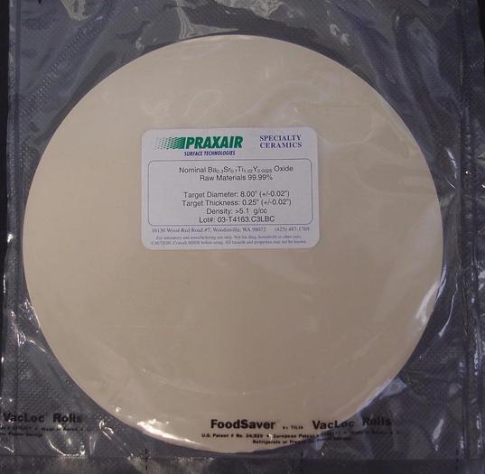 "Praxair Speciality Ceramics Target Ba-Sr-Ti-Y Oxide 99.99% 8""x0.25"" New (3130)"