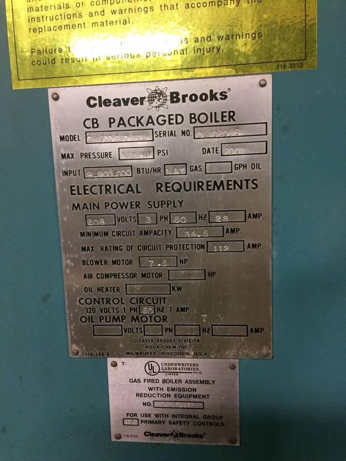 2002  CLEAVER BROOKS PACKAGED BOILERS  CBI 700 240 125 CBI 700 240 125 Hot water