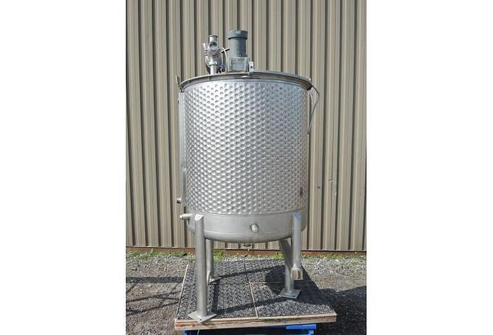 USED 215 GALLON JACKETED TANK, STAINLESS STEEL, WITH CLAMP-ON MIXER