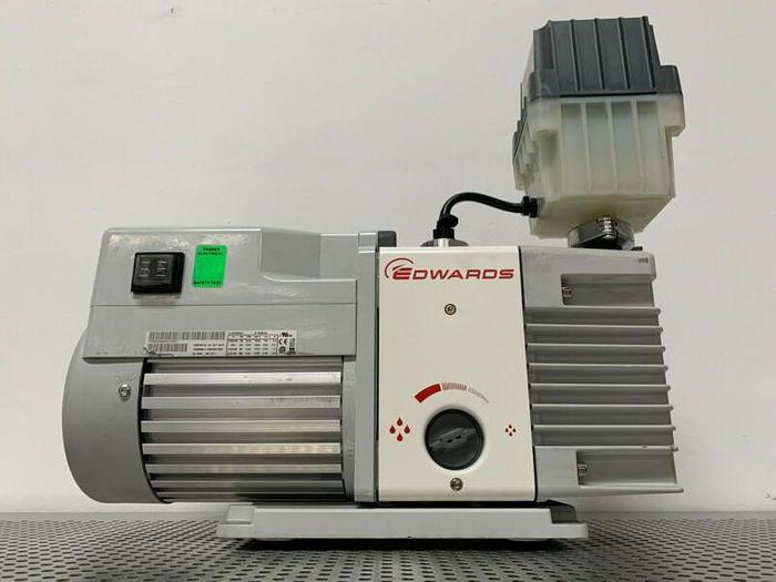 Used Edwards RV3 A65201903 Vacuum Pump 115V/230V w/ Edwards EMF20 Oil Mist Filter