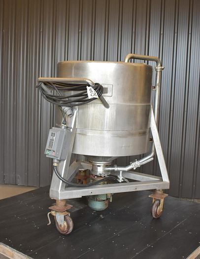 Used USED 100 GALLON STAINLESS STEEL MIX TANK WITH CENTRIFUGAL PUMP