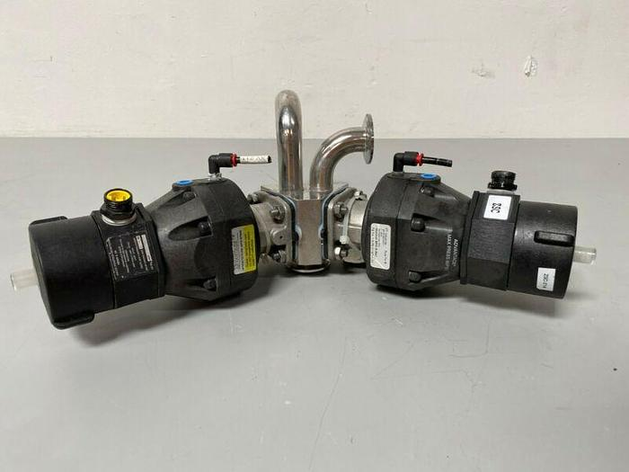 "Used 2 ITT Pure-Flo A209 3-way Stainless Steel Valves w/ Monitor 1"" & 3/4"" Sanitary"