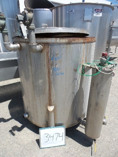 400 Gallon Stainless Steel Vertical Tank #3474