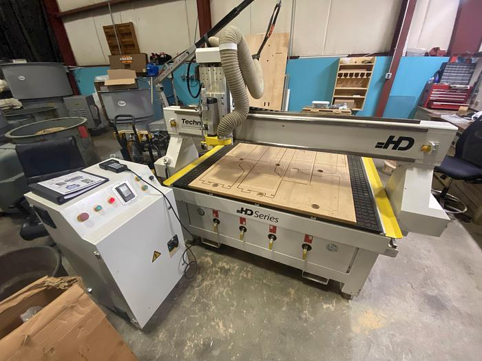 Used TECHNOCNC 5' X 10' CNC ROUTER WITH VACUUM HOLD DOWN PUMP AND DUST COLLECTOR