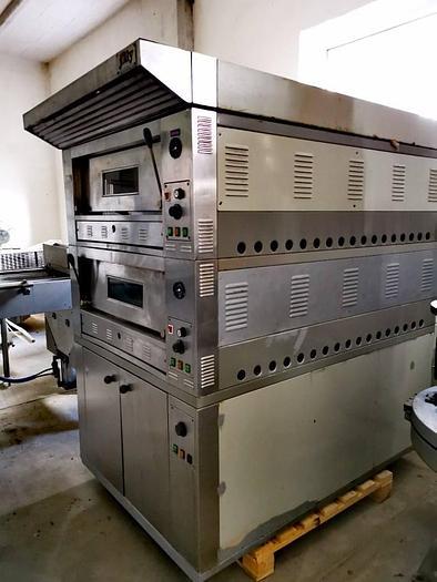 Używane Piec do pizzy 2-komorowy, gazowy, wsadowy z elektryczną garownią