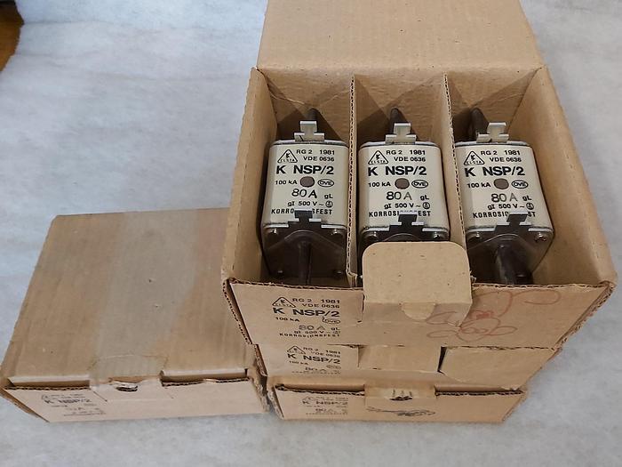 3 Stück NH Sicherungseinsätze Größe 2, 80A, K NSP/2, 500V, Elsta,  neuwertig