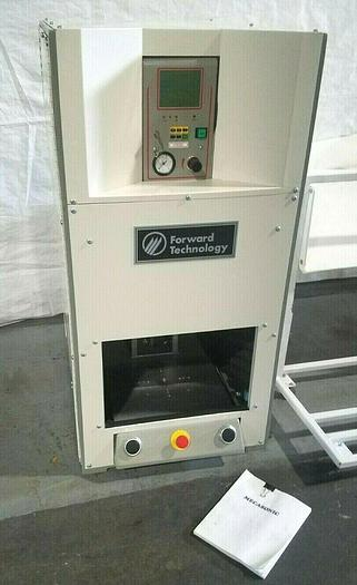 Used Omega Ultrasonic Plastic welder MPXII in shielded cabinet with safety doors