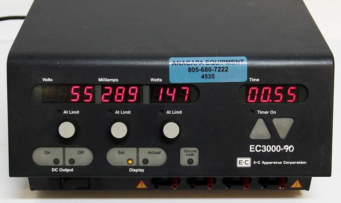 Used EC Apparatus EC3000-90 Electrophoresis Power Supply, 300W, 50/60Hz, 115V (4535)