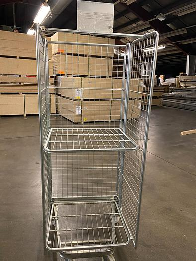 Used Collapsible 3 Sided Mesh Roll Carts
