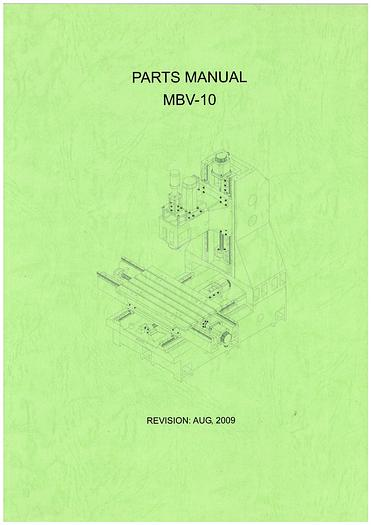 Used Manual for Used SYN Mill Vertical Machine Center Parts Manual MBV Series
