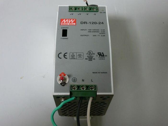 Used Mean Well DR-120-24 Power Supply - 120W 24V