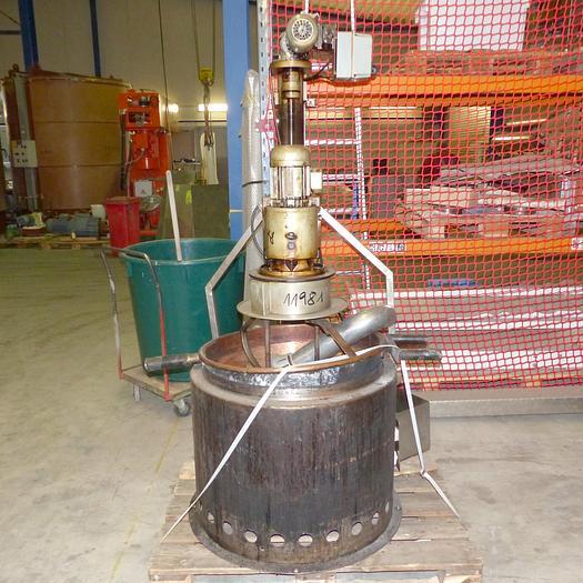 Gebraucht gebr. Krokantkochrührwerk HOPPE Type KR-30 mit Kupferkessel und Gasbrenner.