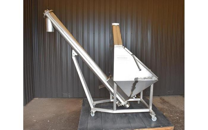USED SCREW CONVEYOR/BAG DUMP STATION, 6'' DIAMETER X 96'' LONG, STAINLESS STEEL
