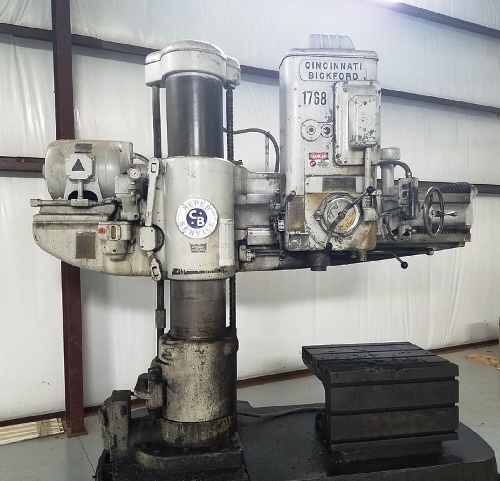 "Used 60"" Cincinnati Bickford Radial Drill, 15"" Column, 60"" Arm, 1500 rpm, #5 MT, ID17374"