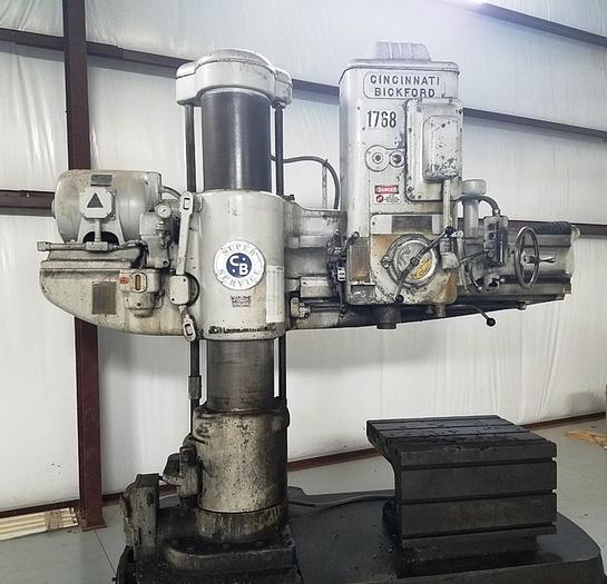 "Used 60"" Cincinnati Bickford Super Service Radial Drill, 15"" Column, 60"" Arm, 1500 rpm, #5 MT Spindle Taper, 1500 rpm, 10 hp"
