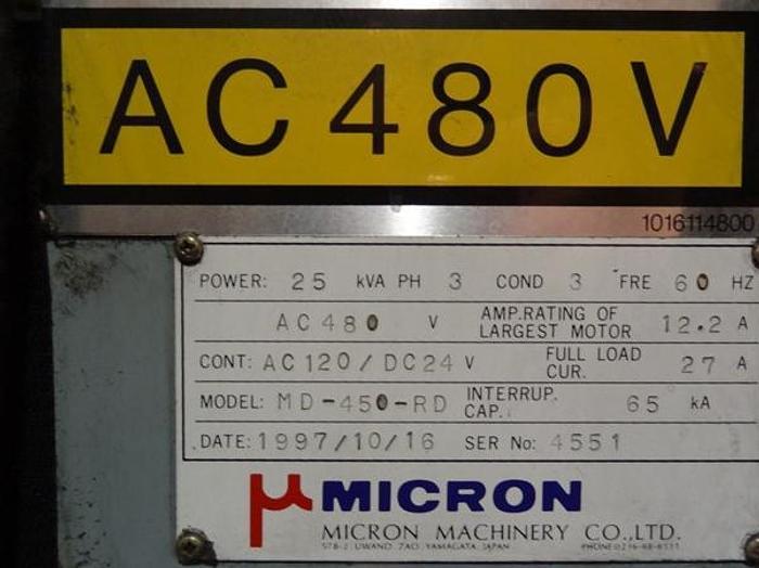 MICRON MODEL MD-450-RD CNC CENTERLESS GRINDER