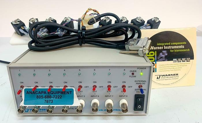 Used Warner Instruments VC-8 Perfusion Valve Controller & Pinch Valve Assembly (7673)