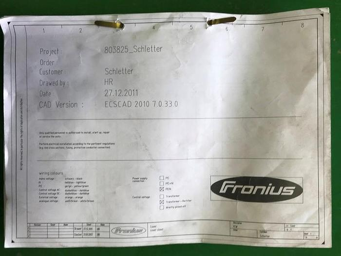 "Used FRONIUS 21"" X 60"" X 150 KG TRUNION STYLE CYLINDRICAL WELDING CELL"