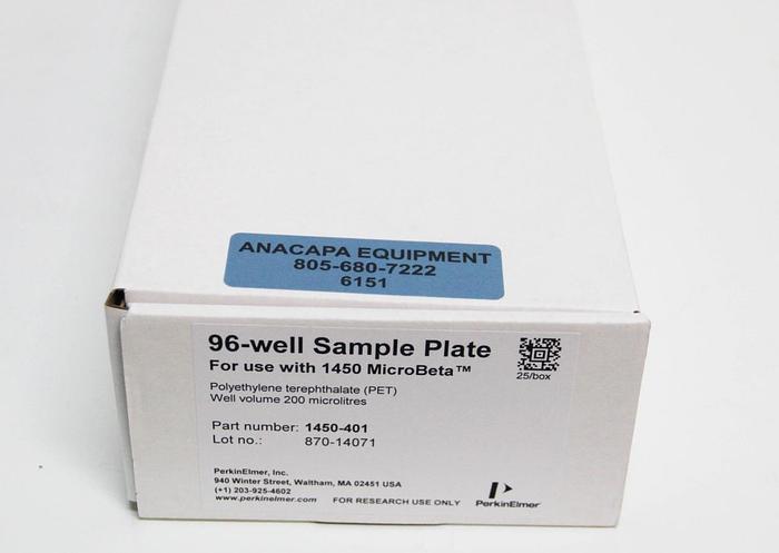 Perkin Elmer 1450-401 Clear 96 Well Flexible PET Microplate 25 PER BOX 6151