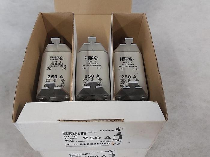 5 Stück NH Sicherungseinsätze Größe 2, 250A, NH-2, 500V, Eurofuse,  neuwertig