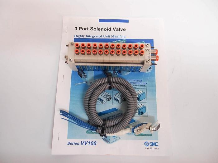Used SMC 11-98A VV100 3 Port Solenoid Valve Integrated Unit Manifold 12 Station 4412