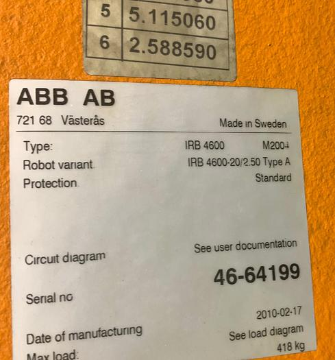 ABB IRB 4600-20/2.5 6 AXIS CNC MIG WELDING ROBOT