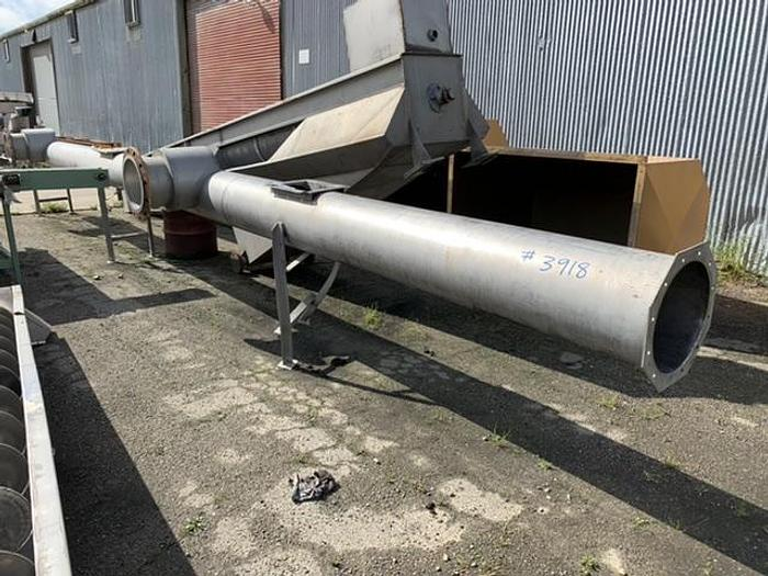 "Used Valley Foundry Stainless Steel Tube Type Auger Screw Conveyor 45.5' Long x 12"" Diameter"
