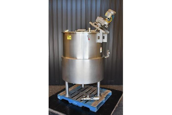 USED 150 GALLON JACKETED KETTLE, 316 STAINLESS STEEL, WITH INCLINE SCRAPE AGITATION