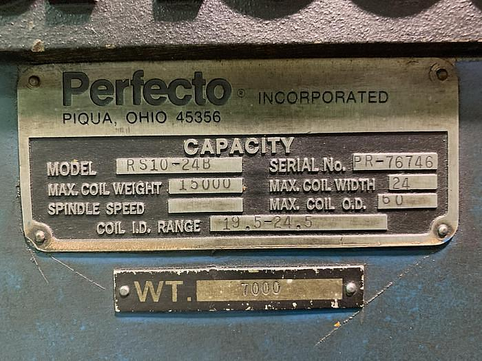 """1976 PERFECTO DECOILER AND STRAIGHTENER LINE 15,000 LBS X 18"""" X .187"""