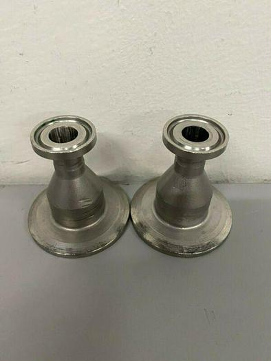 "Used Lot of 2 - Stainless Steel 2"" Sanitary Fitting Reducer 1/2"" to 1"""