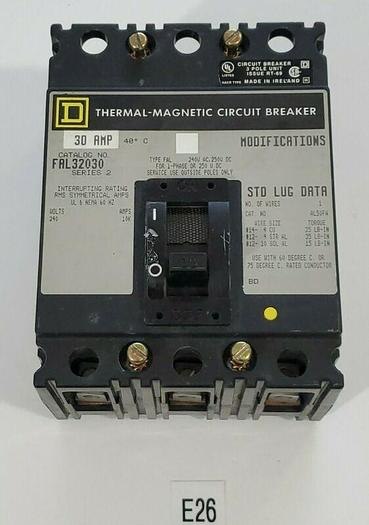 Used *PREOWNED* SQUARE D FAL32030 CIRCUIT BREAKER 240V 30AMP + WARRANTY!