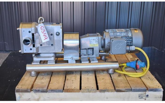 USED AMPCO ROTARY LOBE PUMP, MODEL AL22, 316L STAINLESS STEEL, SANITARY