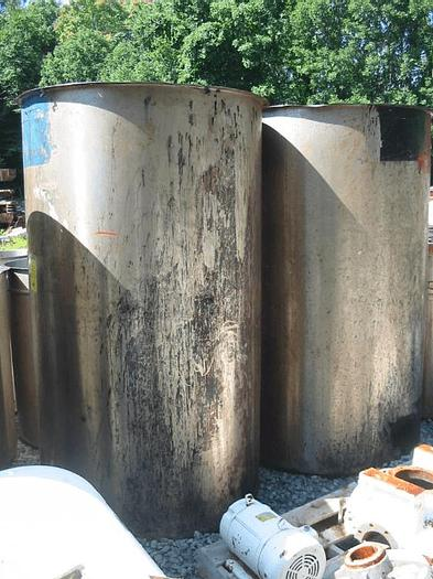 Used 500 GALLON VERTICAL OPEN TOP TANK – S/S