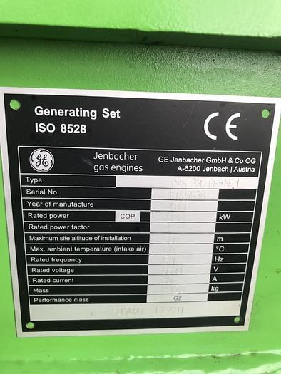 Used Jenbacher JMS 320 GS gas engine with Hitachi alternator 50 hz generator set