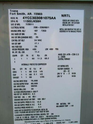 2011 Trane 4YCC3030B1075AA