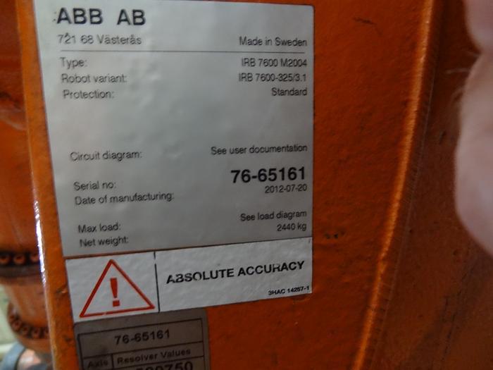 ABB IRB 7600 6 AXIS CNC ROBOT 325KG X 3.1 METER REACH