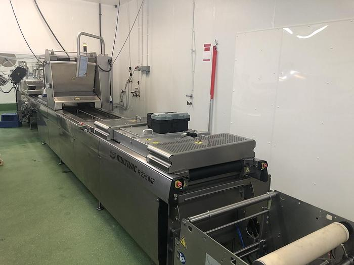 Used Multivac R275mf skin-pack thermoformer with automatic labelling machine