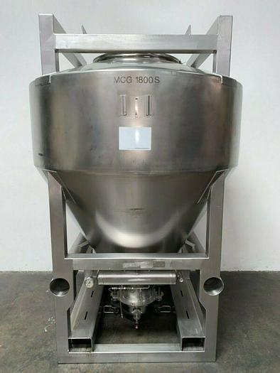 Used LB Bohle 1800 Liter Stainless Steel IBC Blending Tank Max Temp 100 C