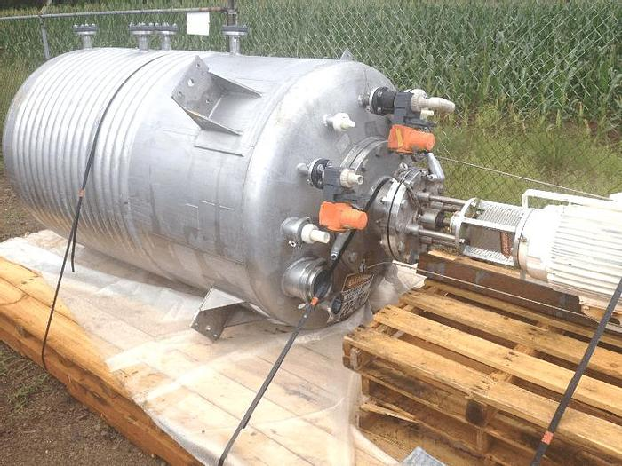 Used 600 GALLON LEE REACTOR/KETTLE WITH HIGH SHEAR MIXER – T-316L – 15 PSI/FV/100 PSI JACKET
