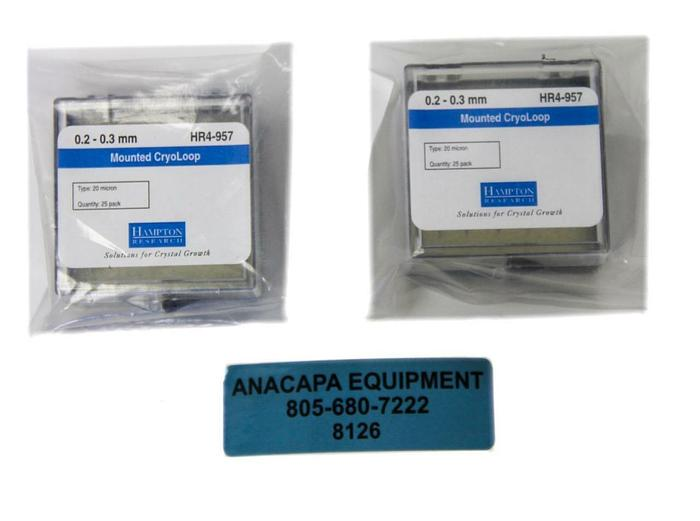 Hampton Research HR4-957, 0.2 - 0.3 mm, Mounted CryoLoop New Lot of 2 (8126)W