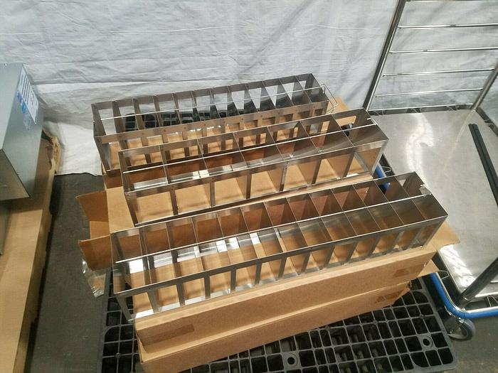 """Used 28-1/2"""" Cell Bank Stainless Steel Stack Trays Racks Pharmaceutical"""