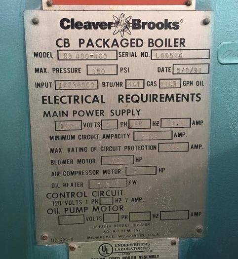 1991 Cleaver Brooks CB400-400 Steam Boiler 150 PSI CB400-400