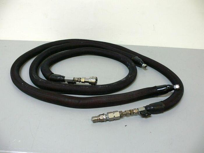 """Used Lot of 2 - 96"""" Rubber Reinforced Hoses w/ SS Quick Connect Ends"""