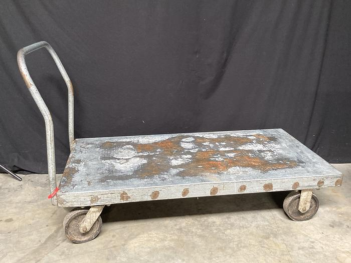 """Used Heavy Duty Flatbed Carts, Galvanized, 30""""W x 60""""D x 14""""H, (handle heights 32"""" or 38"""")"""